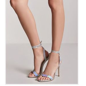 Irredesent ankle wrap heels